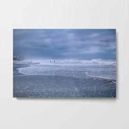 Cloudy Beach Morning Metal Print