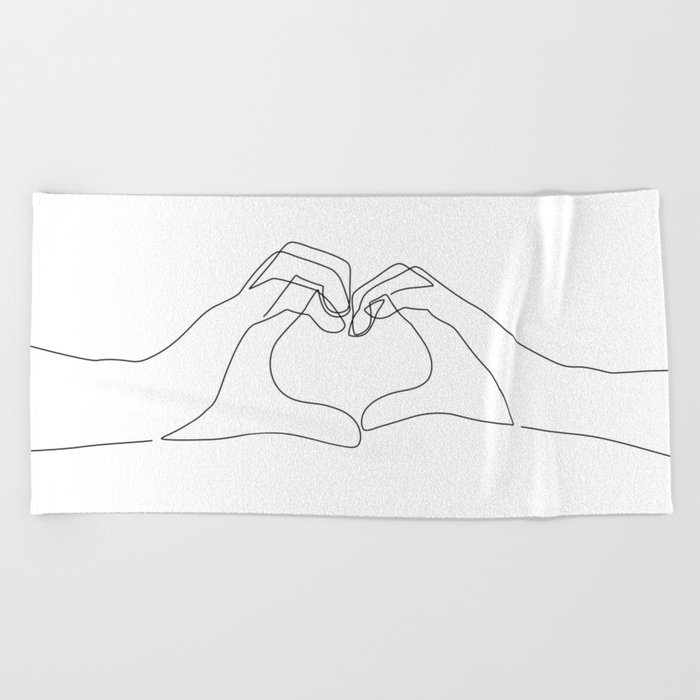 Hand Heart Beach Towel