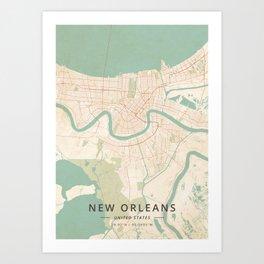 New Orleans, United States - Vintage Map Art Print