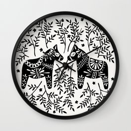 Swedish Dala Horses – Black Palette Wall Clock