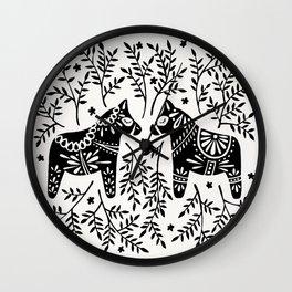 Swedish Dala Horses – Black Palette Wall Clock