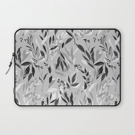 Back white and gray leaves pattern Laptop Sleeve
