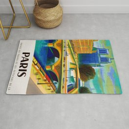 Vintage 1957 Paris River Seine & Notre-Dame Cathedral Travel Advertising Poster by Jacques Garamond Rug