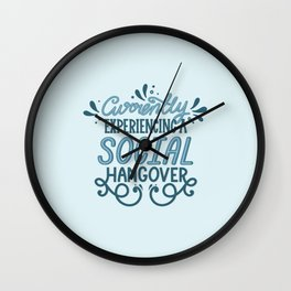 Introvert Social Hangover in Blue Wall Clock