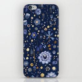 Indigo Flowers at Midnight iPhone Skin