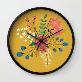 Mustard Yellow-Flower Arrangement Wall Clock