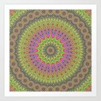 mandala Art Prints featuring Floral ornament mandala  by David Zydd - Colorful Mandalas & Abstrac