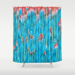 Turquoise lava lamp effect with floral motif Shower Curtain