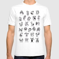 A to Z animals SMALL White Mens Fitted Tee
