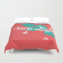 Minimalistic White Flowers On A Red Duvet Cover