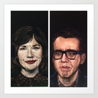 portlandia Art Prints featuring Portlandia Celebrated in Black Velvet by Gil Corral