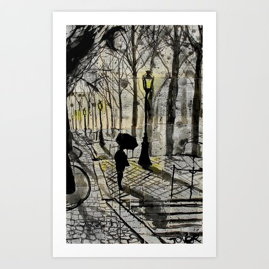 walking in montmartre Art Print