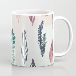 Mix of plants and watercolor leaves Coffee Mug