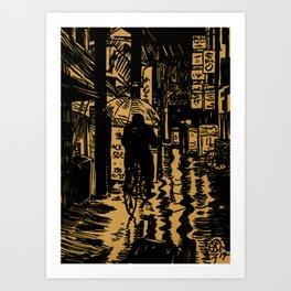 Tokyo Night Alley Ride Art Print