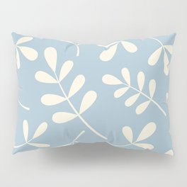 Cream on Blue Assorted Leaf Silhouettes Pillow Sham