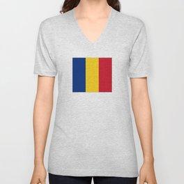 Flag of romania 3 -romania,romanian,balkan,bucharest,danube,romani,romana,bucuresti Unisex V-Neck