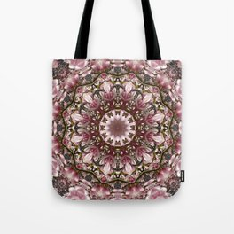 Pink spring blossoms, Floral mandala-style Tote Bag