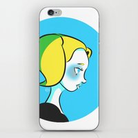 powerpuff girls iPhone & iPod Skins featuring Powerpuff Girls: Bubbles by Kristy Nguyen