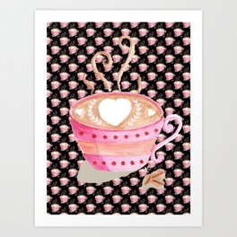 Valentine's Day coffee art on black Art Print