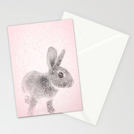 Rabbit in pink and gray, Baby Animal mosaic Stationery Cards