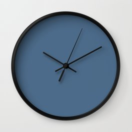Heroic Mid Tone Blue Solid Color Pairs To Sherwin Williams Revel Blue SW 6530 Wall Clock