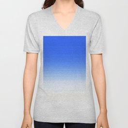 Sky Blue White Ombre Unisex V-Neck