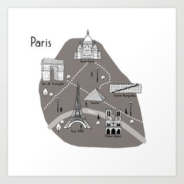 Mapping Paris - Grey Art Print