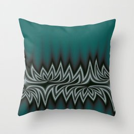 Fractal Tribal Art in Pacific Teal Throw Pillow