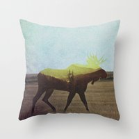 moose Throw Pillows featuring Moose by Andreas Lie