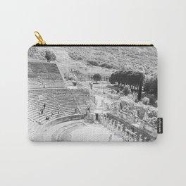 Travel Escape | Arena Ruins Ephesus Black and White Stadium European Mountain Wilderness Landscape Carry-All Pouch