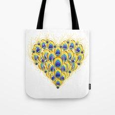Peacock Heart Tote Bag