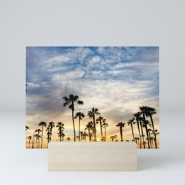 Palm Tree Love (blue and orange) Mini Art Print