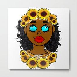Sunflower Goddess Vibes Metal Print