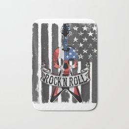 Rock N' Roll Guitar American Flag Vinatge T-Shirt Music Band Bath Mat