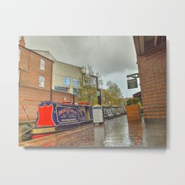Canal Boat at the Waters Edge  Brindley Place Metal Print