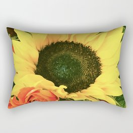 Big Country Sunflower and Classic Red Roses Rectangular Pillow