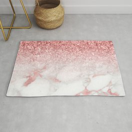 Rose-gold faux glitter and marble ombre Rug