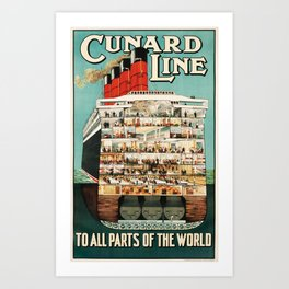 Cunard Line, To All Parts of the World - Vintage Travel Poster Art Print