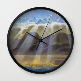 Sun Over Southern Mountains and Sea landscape by Jens Ferdinand Willumsen Wall Clock