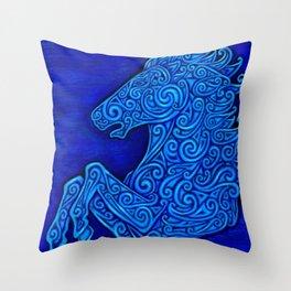 Blue Celtic Horse Abstract Spirals Throw Pillow
