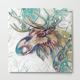 Moose Into The Frost Metal Print