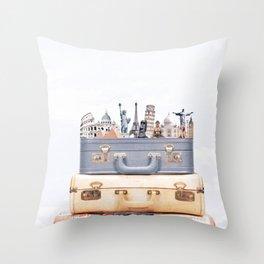 Travel Luggage Throw Pillow
