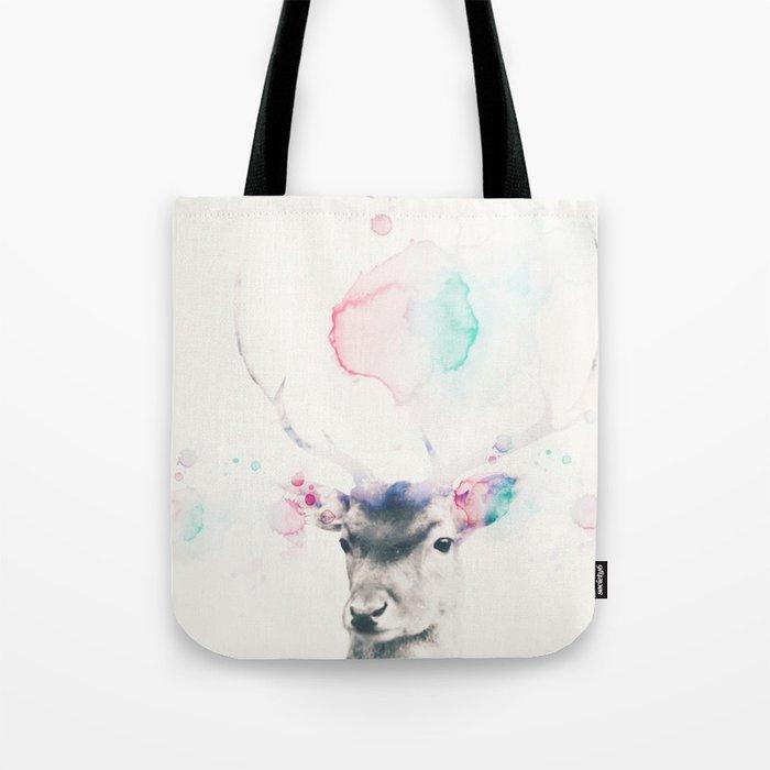 Pastel watercolor deer -Scandinavian art Tote Bag