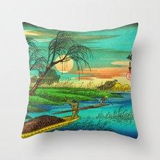 Seba Ohta River Japan Ukiyo e Art Throw Pillow