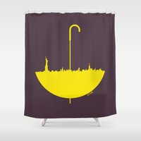 himym Shower Curtains featuring Yellow umbrella by Beitebe
