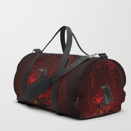 Wonderful crow with roses Duffle Bag