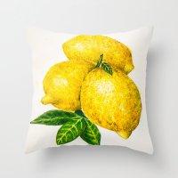 lemon Throw Pillows featuring Lemon by Peiting Tsai