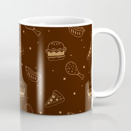 Fast Food Snacks Attack - Pizza Pie Hot Dogs Chicken Wings! on Brown Coffee Mug