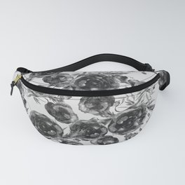 Abstract Poppy Pattern Black And White Fanny Pack