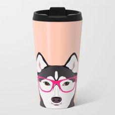Kamri - Siberian Husky with Pink Hipster Glasses, Cute Retro Dog, Dog, Husky with Glasses, Funny Dog Metal Travel Mug